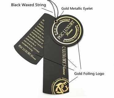 Square Luxury Paper Hang Tag of gold foil logo