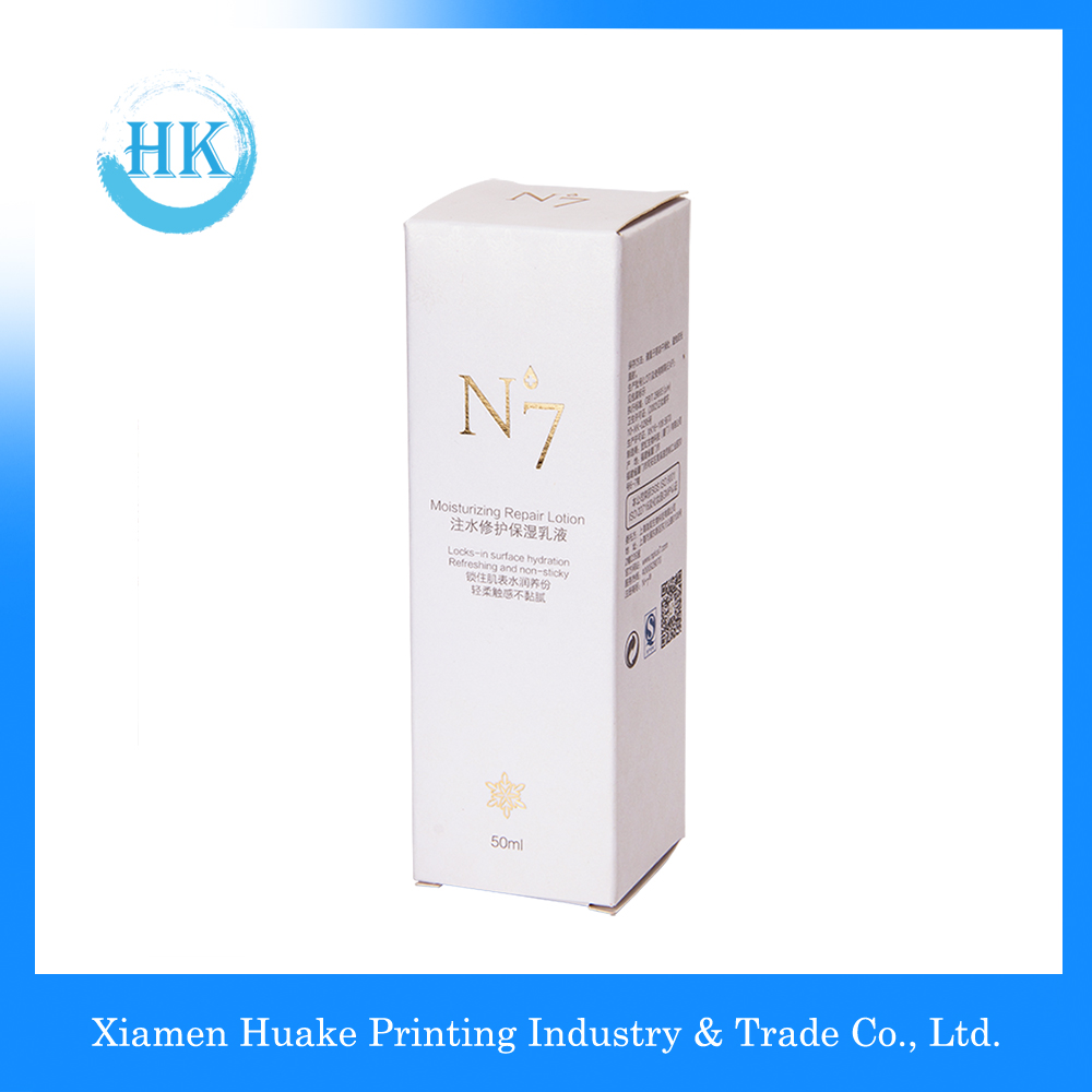 White long corrugated makeup paper box with hot-stamping