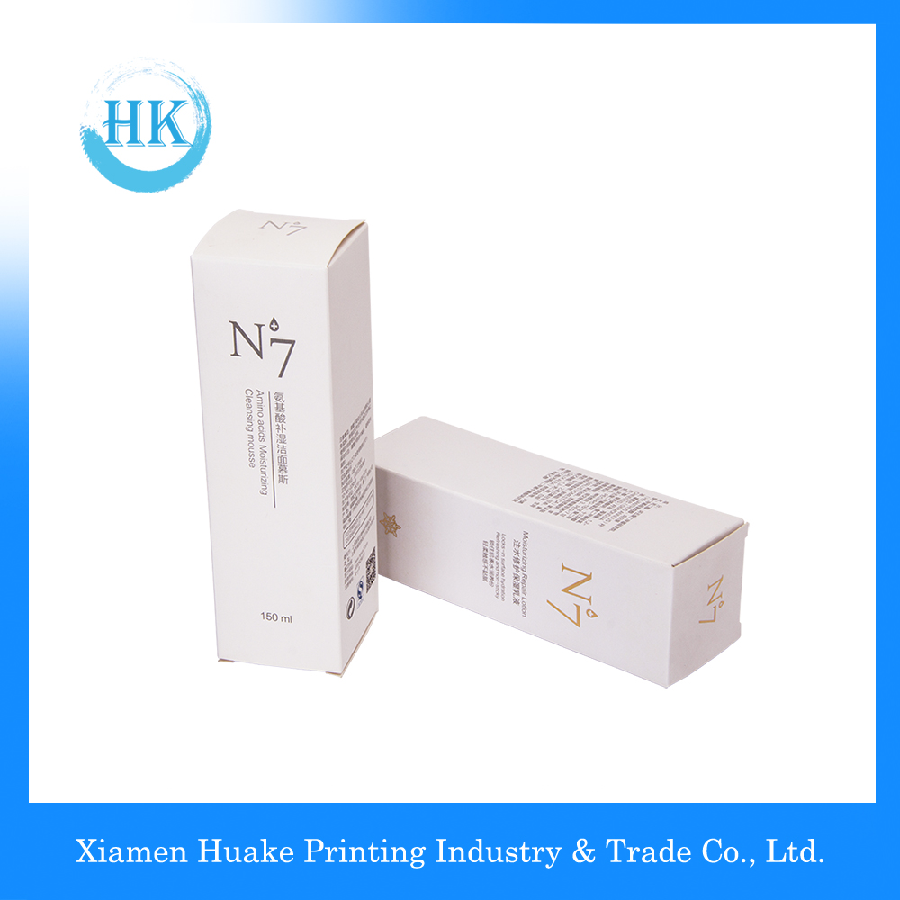 White long corrugated makeup paper box with hot-bronzing