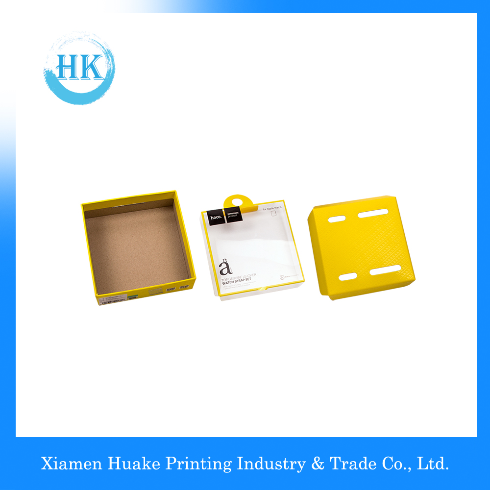 ECO Glossy UV Printed PVC Window Packaging Box Top Genuing Leather