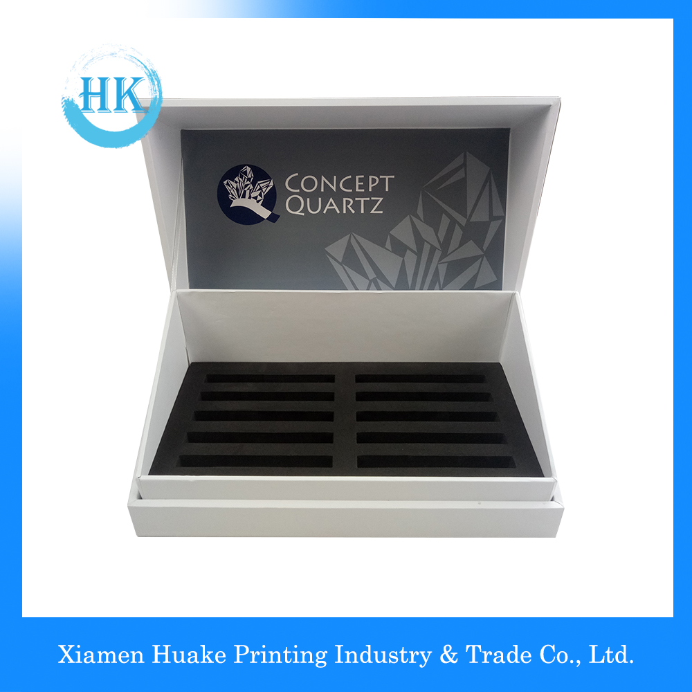 Luxury White Display Cardcover Box With White Ribbon EVA Foam Insert